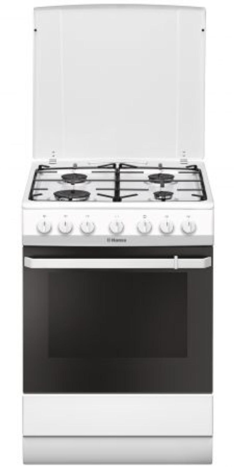 Aragaz mixt Hansa FCMW681009, plita gaz, cuptor electric, alb