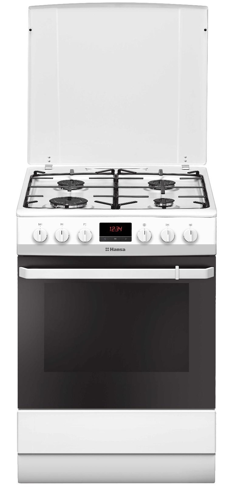 Aragaz mixt Hansa FCMW68299, plita gaz, cuptor electric, 4 arzatoare, alb