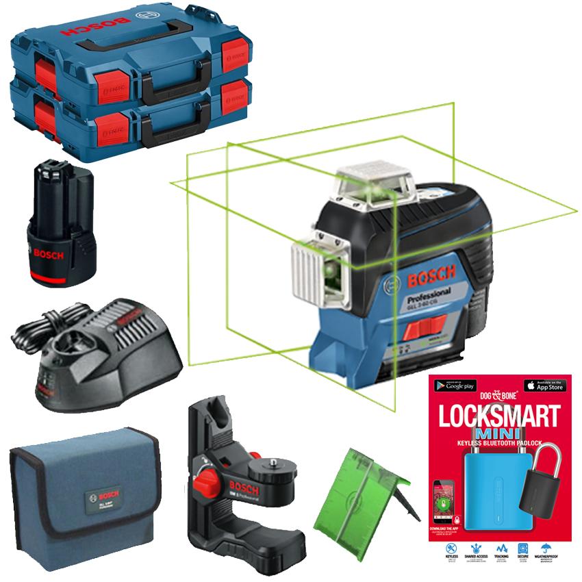 BOSCH GLL 3-80 CG + BM 1 Nivela laser cu linii verzi (30 m) + Suport + 1 acumulator 12V + L-BOXX (2 bucati) + Lacat cu Bluetooth LockSmart Mini 06159940LJ