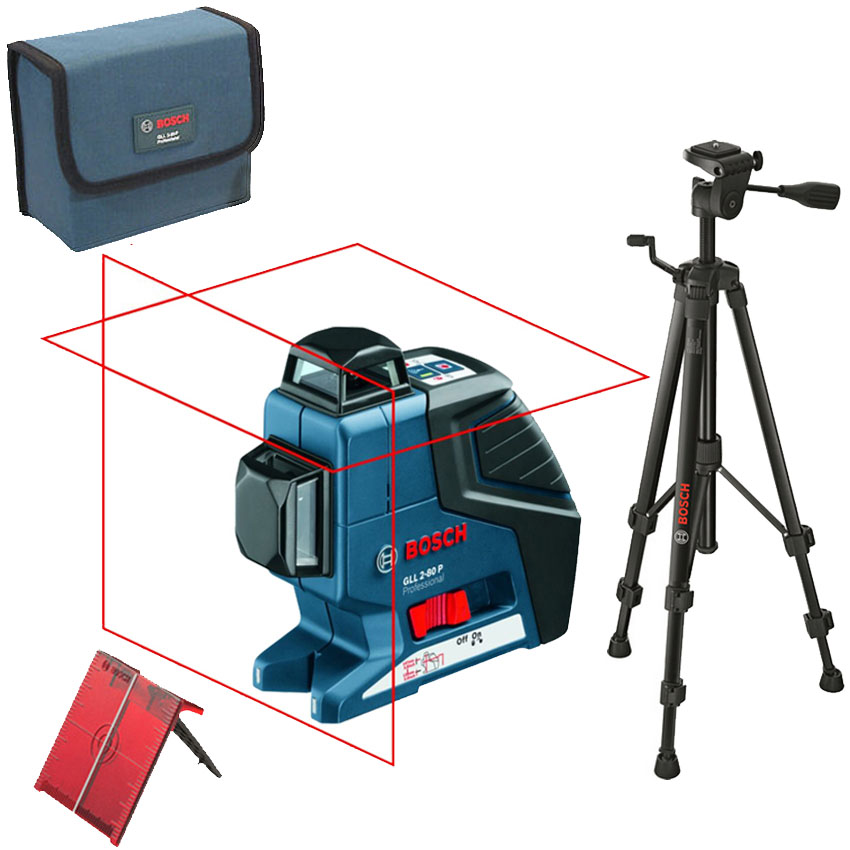 BOSCH GLL 2-80 P + BS 150 Professional Nivela laser cu linii + Stativ constructii 0601063205