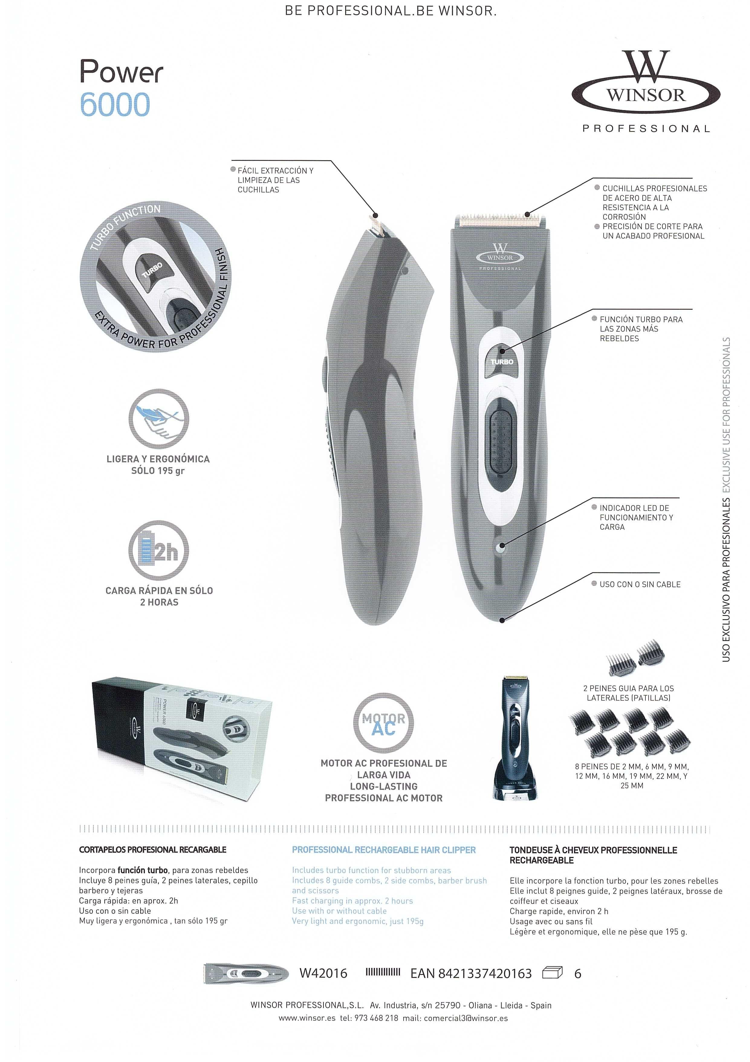 Aparat de tuns Winsor Pro, Power 6000
