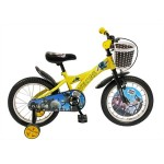 Bicicleta copii 16 VELORS V1601B, cadru otel, culoare galben albastru, roti ajutatoare, varsta 4-6 ani