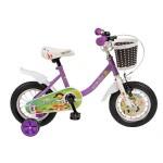 Bicicleta copii 12 VELORS V1202B, cadru otel, culoare mov alb, roti ajutatoare, varsta 2-4 ani