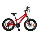 Bicicleta MTB-HT copii 20 VELORS V2020C, cadru aluminiu, culoare rosu gri, varsta 7-10 ani