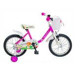 Bicicleta copii 16 VELORS V1602B, cadru otel, culoare roz alb, roti ajutatoare, varsta 4-6 ani