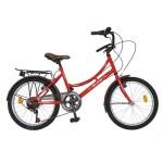 Bicicleta copii 20 VELORS V2034A, cadru otel, culoare rosu maro, varsta 7-10 ani