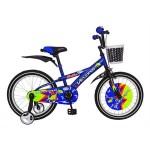 Bicicleta copii 18 VELORS V1801B, cadru otel, culoare albastru negru, roti ajutatoare, varsta 5-7 ani