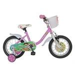 Bicicleta copii 14 VELORS V1402B, cadru otel, culoare roz alb, roti ajutatoare, varsta 3-5 ani