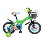 Bicicleta copii 12 VELORS V1201B, cadru otel, culoare verde negru, roti ajutatoare, varsta 2-4 ani