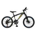 Bicicleta MTB-HT copii 20 VELORS V2009A, cadru otel, culoare negru roz, varsta 7-10 ani