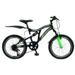Bicicleta copii MTB-FS 20 VELORS V2059A, cadru otel, culoare negru verde, varsta 7-10 ani