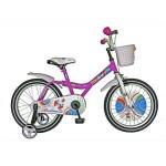 Bicicleta copii 18 VELORS V1802B, cadru otel, culoare roz alb, roti ajutatoare, varsta 5-7 ani