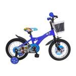 Bicicleta copii 14 VELORS V1401B, cadru otel, culoare albastru negru, roti ajutatoare, varsta 3-5 ani