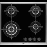 Plita incorporabila vitroceramica pe gaz AEG HG694550XB, 4 arzatoare, negru
