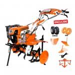 Motosapatoare RURIS 732ACC + roti cauciuc 5.00-8+rarita+plug+adaptor+dispozitiv scos cartofi+roti metalice 400 fara manicot+cultivator