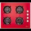 Plita incorporabila pe gaz LDK YD640RE40K, 4 arzatoare, 60 cm, rosu