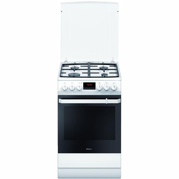 Aragaz mixt Hansa FCMW582109, plita pe gaz, cuptor electric, 65 l, grill, alb