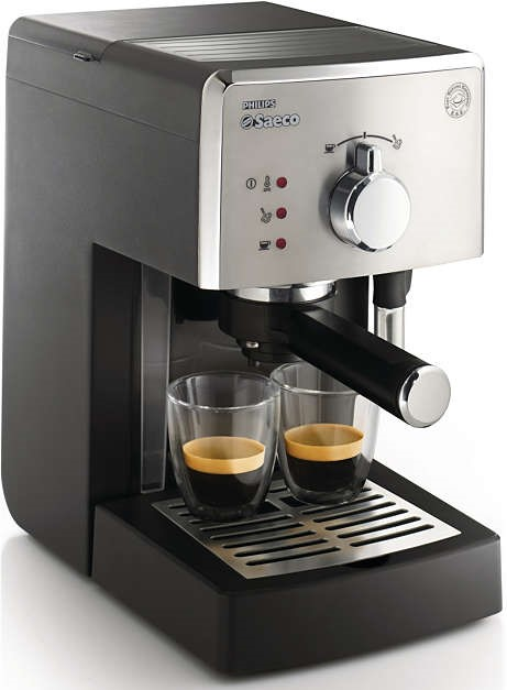 Espressor manual Philips Saeco Poemia HD8425/19, 15 bari, negru/crom