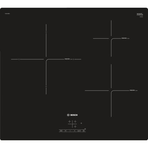 Plita incorporabila vitroceramica cu inductie Bosch PUJ611BB1E, 3 zone, 60 cm, negru
