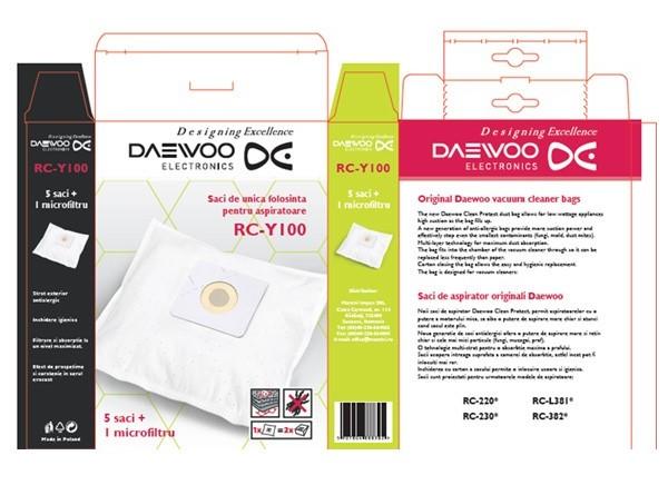 Set 5 saci de aspirator Daewoo RC-Y100, +1 microfiltru