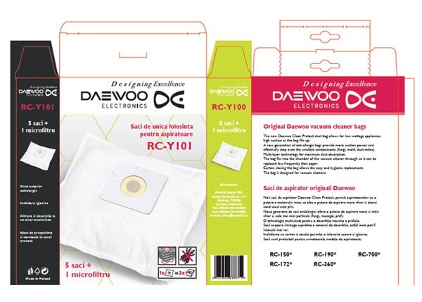 Set 5 saci de aspirator Daewoo RC-Y101, +1 microfiltru