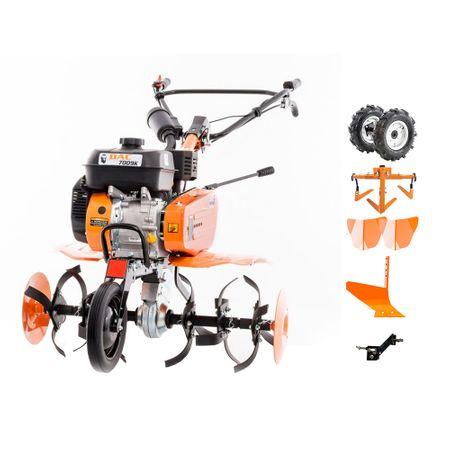 Ruris DAC 7009 ACC2 Motosapa roti cauciuc + doua rarite + plug + adaptor + cultivator 7CP